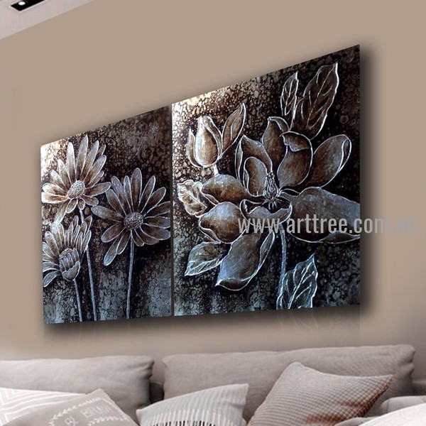 Monochrome Blossoms Floral Vintage Handmade 2 Piece Split Canvas Paintings Wall Art Set For Room Adornment