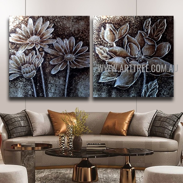 Monochrome Blossoms Floral Vintage Handmade 2 Piece Multi Panel Oil Painting Wall Art Set For Room Disposition