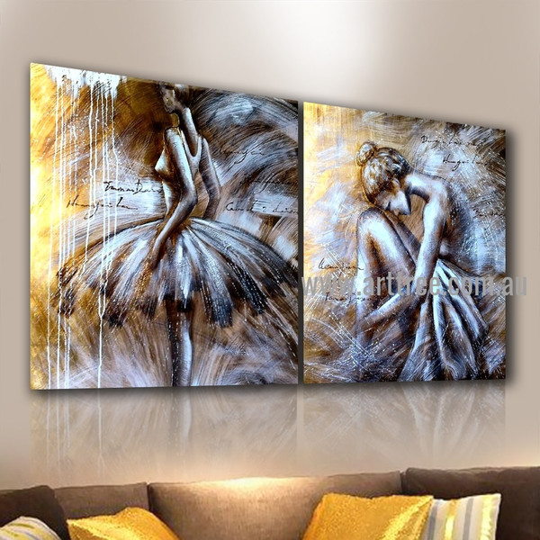 Ballerina Dancers Figure Handmade 2 Piece Multi Panel Oil Paintings Wall Art Set For Room Onlay