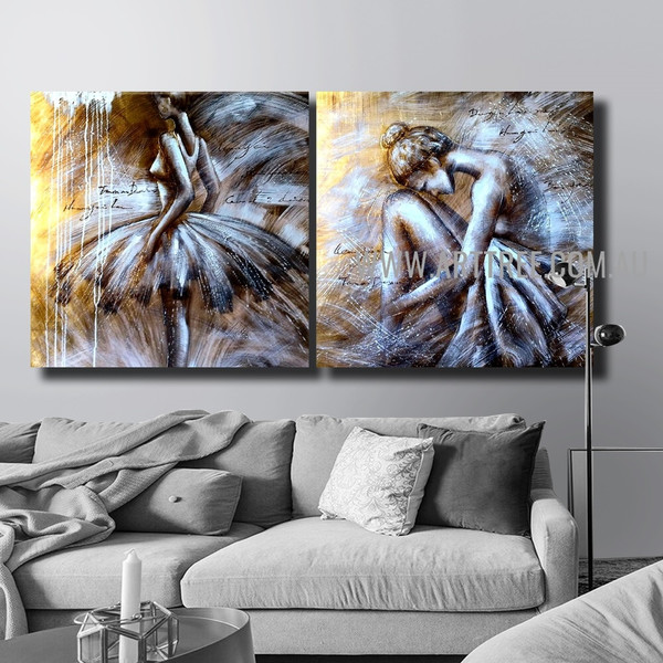 Ballerina Dancers Figure Handmade 2 Piece Split Canvas Painting Wall Art Set For Room Assortment