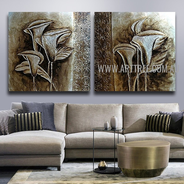 Calla Lily Botanical Artist Handmade 2 Piece Multi Panel Oil Painting Wall Art Set for Room Disposition