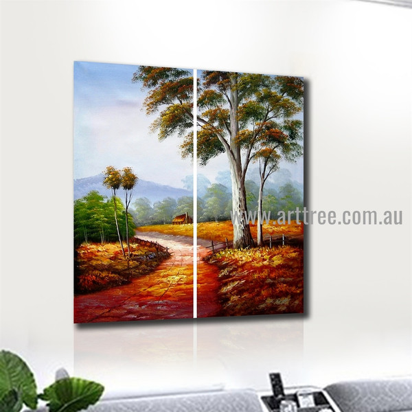 Pathway Nature Texture Handmade 2 Piece Multi Panel Wall Painting Set For Room Assortment