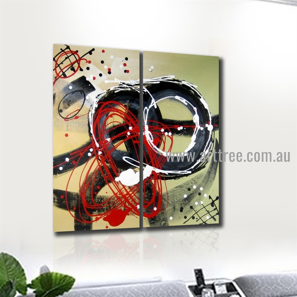 Sinuous Abstract Heavy Texture Handmade 2 Piece Split Complementary Painting Wall Art Set For Room Decor