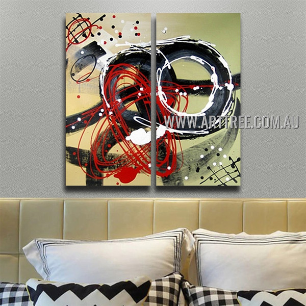 Sinuous Abstract Heavy Texture Handmade 2 Piece Multi Panel Canvas Oil Painting Wall Art Set For Room Garnish