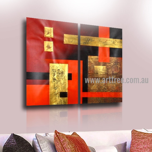 Boxes Design Abstract Heavy Texture Handmade 2 Piece Split Panel Painting Wall Art Set for Room Ornament