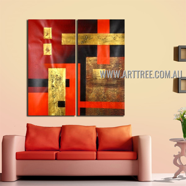 Boxes Design Abstract Heavy Texture Handmade 2 Piece  Split Canvas Art Wall Set for Room Garnish