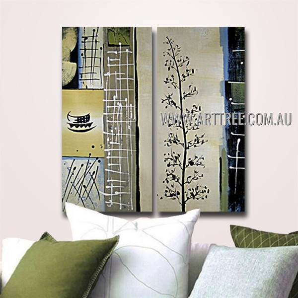Leaves Branch Abstract Vintage Handmade 2 Piece Split Canvas Art Wall Set for Room Garnish