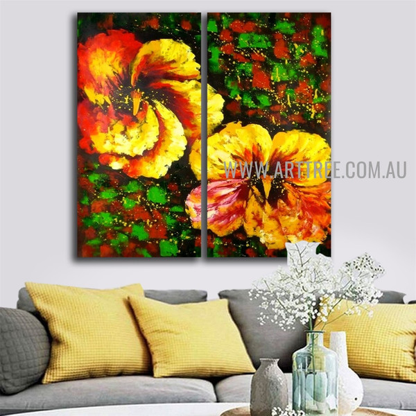 Big Blooms Abstract Floral Handmade 2 Piece Multi Panel Wall Painting Set for Room Embellishment