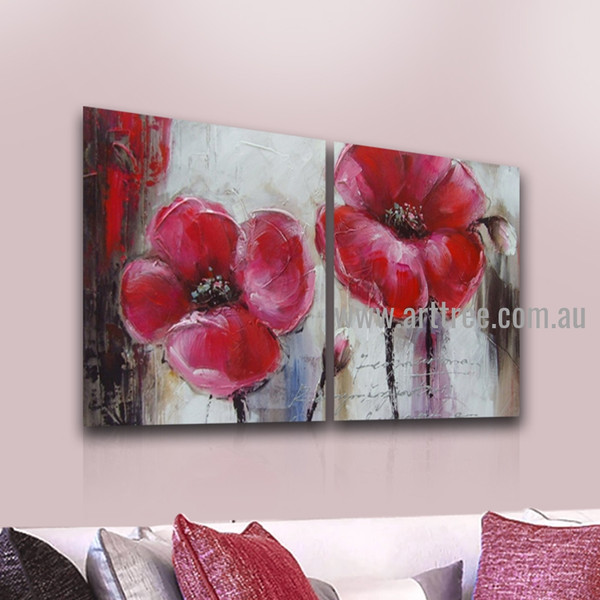 Pink Blooms Abstract Retro Handmade 2 Piece Multi Panel Oil Painting Wall Art Set For Room Molding