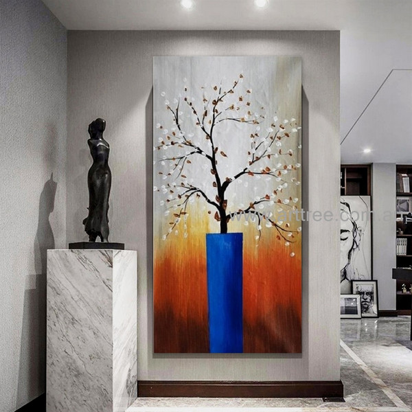 Blue Flower Pot Floral Handmade Acrylic Texture Modern Artwork for Room Wall Tracery