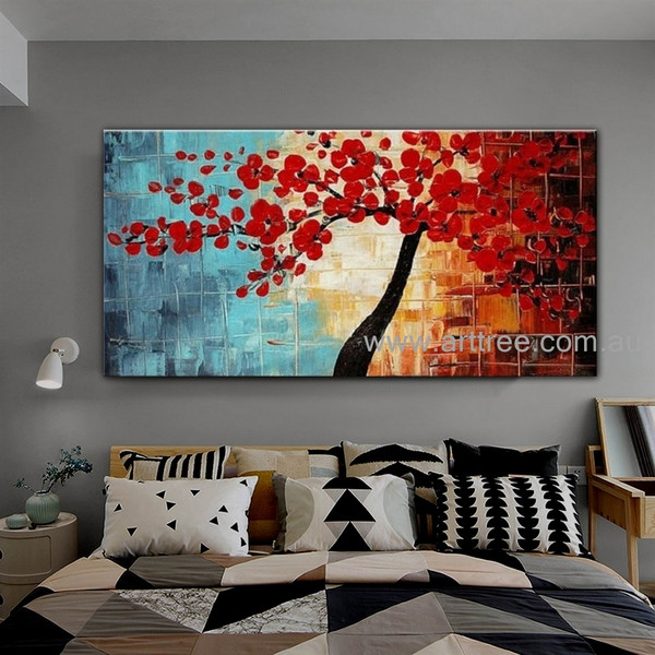 Red Bloom Tree Floral Abstract Knife Handmade Acrylic Modern Artwork for Room Wall Ornamentation