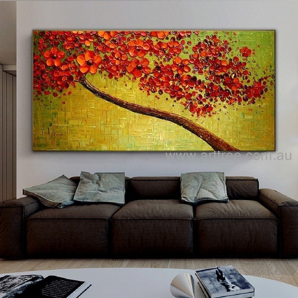 Red Floret Tree Botanical Palette Knife Handmade Artist Modern Acrylic Abstract Flower Painting for Room Wall Garniture