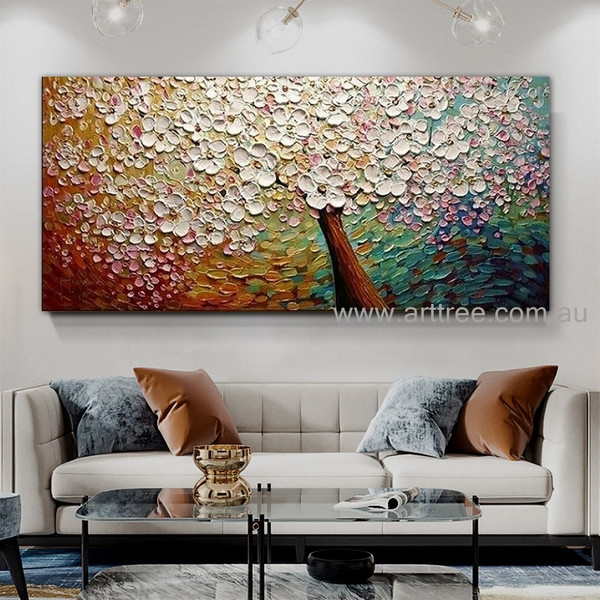 Flowers Arbor Botanical Handmade Artist Modern Acrylic Abstract Palette Knife Floral Wall Art for Room Drape