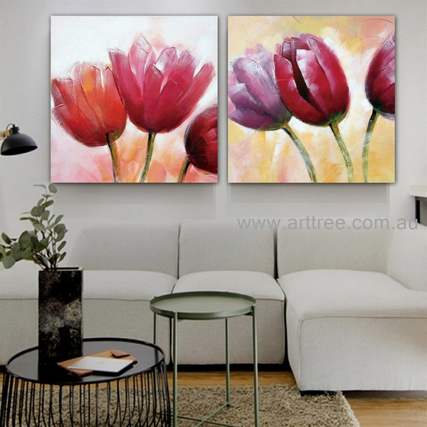 Pink Tulips Floral Artist Handmade Heavy Texture Abstract Flower Contemporary 2 Piece Palette Knife Art Set for Room Décor