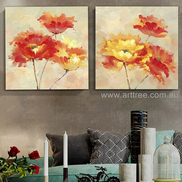 Colorful Florets Artist Handmade Heavy Texture Abstract Flower Contemporary 2 Piece Floral Paintings Wall Art Set for Room Ornament