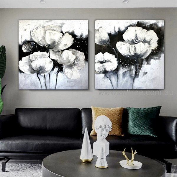 White Flowerage Floral Heavy Texture Contemporary 2 Piece Acrylic Abstract Flower Paintings Wall Art Set for Room Moulding