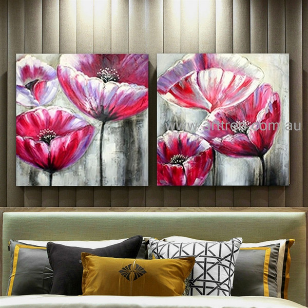 Amazing Poppies Abstract Floral Heavy Texture Artist Handmade 2 Piece Acrylic Flower Modern Artwork Wall Art Set For Room Onlay