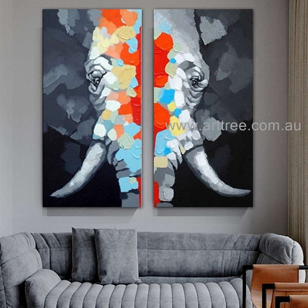 Colorful Jumbo Animal Heavy Texture Artist Handmade 2 Piece Acrylic Split Complementary Painting Wall Art Set For Room Garniture