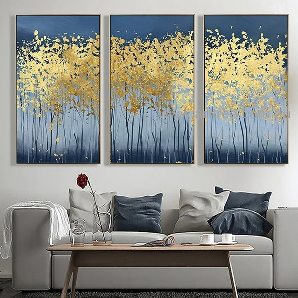 Blond Trees Botanical Heavy Texture Artist Handmade 3 Piece Modern Abstract Painting Wall Art Set for Room Getup