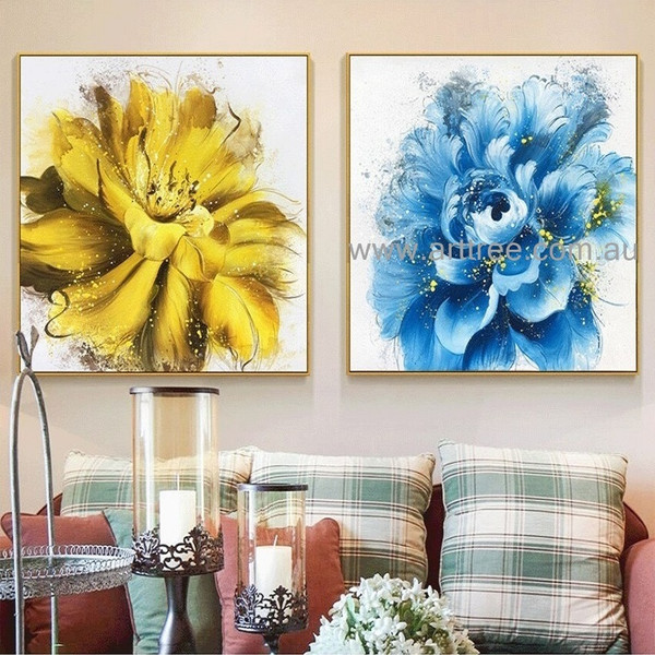 Yellow Blue Blooms Abstract Floral Heavy Texture Modern Artist Handmade 2 Piece Flower Wall Art Set For Room Moulding
