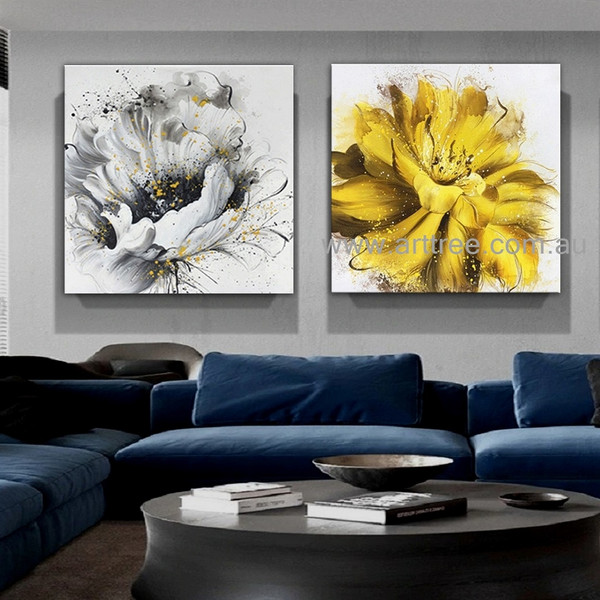 Yellow Black Flowers Heavy Texture Modern Artist Handmade 2 Piece Abstract Painting Floral Wall Art Set For Room Molding