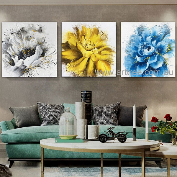 Multicolor Flowers Heavy Texture Modern Artist Handmade 3 Piece Abstract Floral Painting Wall Art Set For Room Garniture