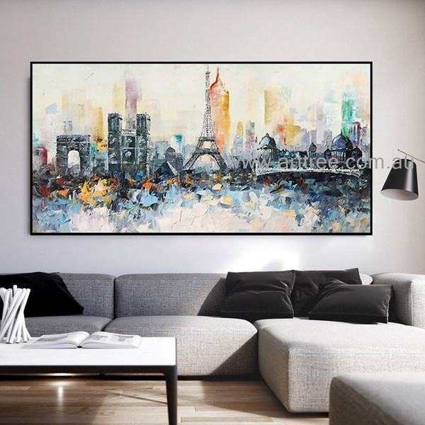 Paris Eiffel Tower Cityscape Heavy Texture Knife Artist Handmade Abstract Acrylic Modern Painting For Room Décor