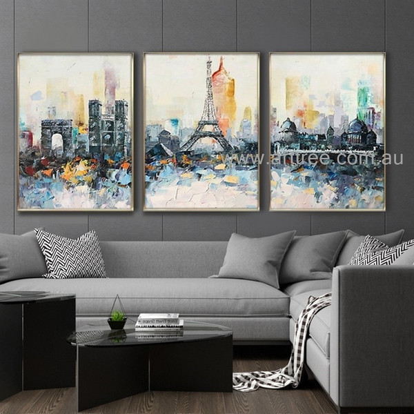 Paris City View Cityscape Heavy Texture Knife Abstract Acrylic Artist Handmade 3 Piece Split Panel Canvas Wall Art Set For Room Equipment
