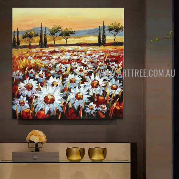 White Bloom Garden Floral Nature Beautiful Scenery Painting For Room Wall Décor