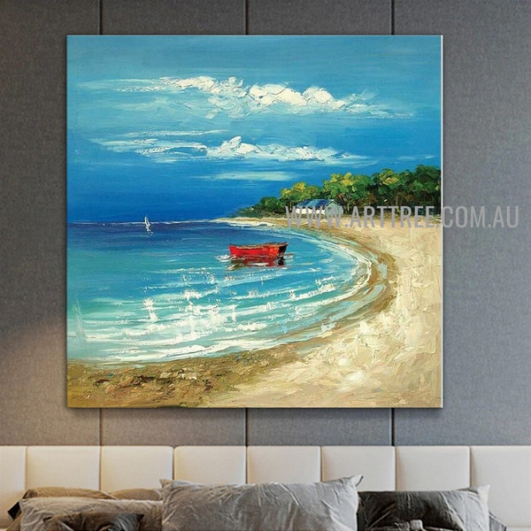 Amazing Lakeside Seascape Nature Art Painting On Canvas For Room Wall Embellishment