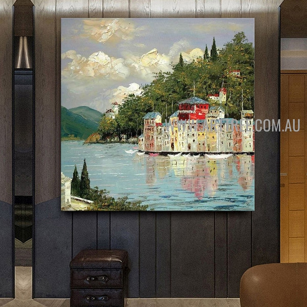 Underwater City Artist Handmade Modern Acrylic Nature Art Painting On Canvas For Room Wall Disposition