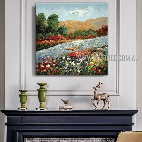 Floral Garth Botanical Artist Handmade Heavy Texture Modern Framed Contemporary Art Painting For Room Wall Décor