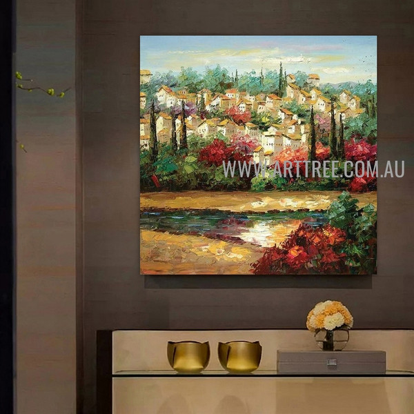 Town View Cityscape Artist Handmade Heavy Texture Acrylic Nature Painting On Canvas For Room Wall Tracery