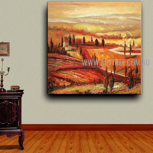 Hills Sunset Landscape Heavy Texture Artist Handmade Acrylic Sunset Scenery Painting For Room Wall Adornment