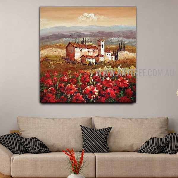 Flower Plantation Floral Landscape Heavy Texture Artist Handmade Acrylic Nature Artwork For Room Wall Embellishment