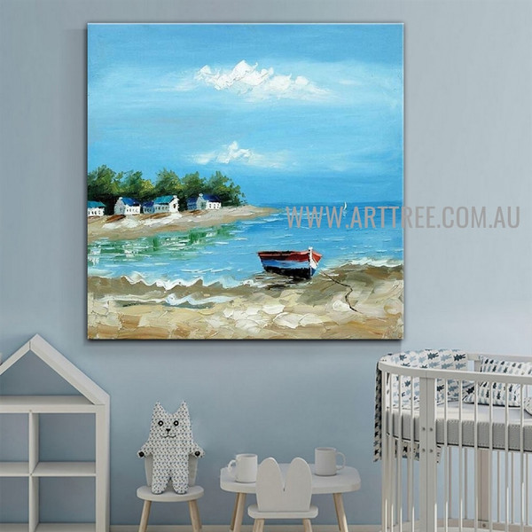Seaboard Landscape Heavy Texture Artist Handmade Acrylic Nature Painting For Room Wall Assortment