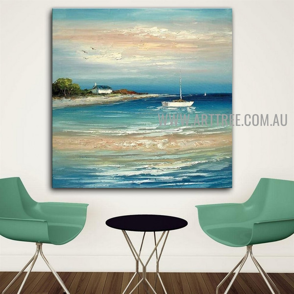 White Boat Seascape Heavy Texture Artist Handmade Acrylic Nature Painting For Room Wall Décor