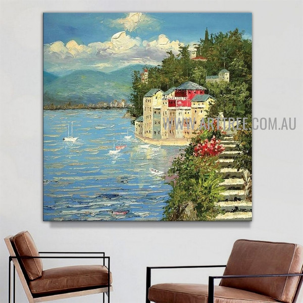 Seaside Building Cityscape Artist Handmade Acrylic Landscape Painting For Room Wall Tracery
