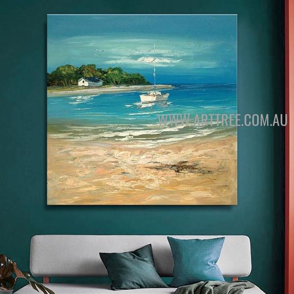 Sea Beach Seascape Artist Handmade Acrylic Heavy Texture Beautiful Scenery Painting For Room Wall Onlay