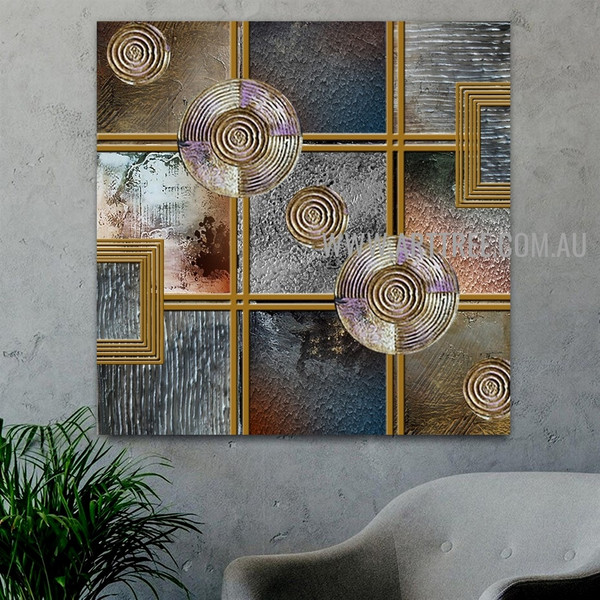 Sinuate Abstract Geometric Artist Handmade Heavy Texture Framed Modern Artwork For Room Wall Decoration