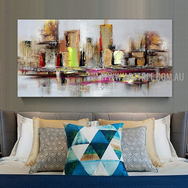 Colorful Edifices Abstract Cityscape Artist Handmade Heavy Texture Framed Contemporary Art Painting For Room Wall Trimming