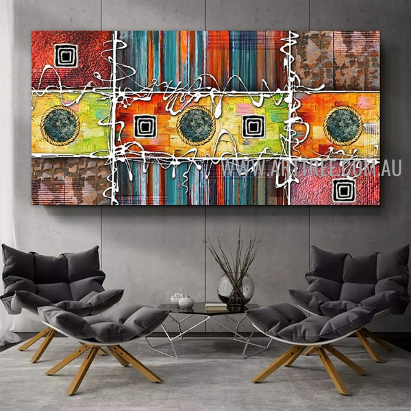 Winding Geometric Contemporary Artist Handmade Heavy Texture Stretched Abstract Art Painting For Room Wall Moulding