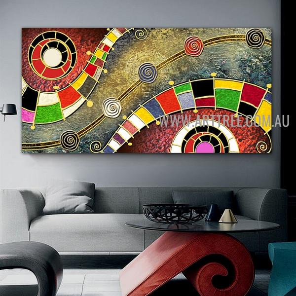 Wiggly Modern Geometric Artist Handmade Heavy Texture Framed Acrylic Abstract Canvas Art For Room Wall Garniture