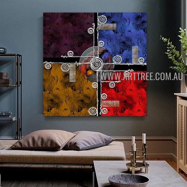 Swirl Pattern Geometric Artist Handmade Heavy Texture Framed Acrylic Modern Abstract Art For Room Wall Flourish