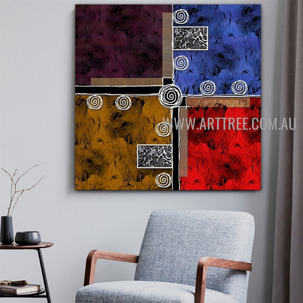 Calico Taints Geometric Abstract Artist Handmade Heavy Texture Stretched Acrylic Modern Artwork For Room Wall Equipment