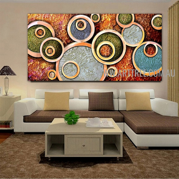 Circular Design Geometric Modern Artist Handmade Heavy Texture Stretched Abstract Acrylic Painting For Room Wall Disposition