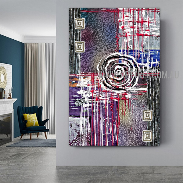 Globose Abstract Geometric Artist Handmade Heavy Texture Framed Modern Painting For Room Wall Décor