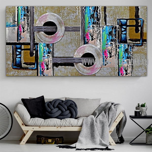Orbed Abstract Geometric Artist Handmade Impasto Stretched Contemporary Art Painting For Room Wall Tracery