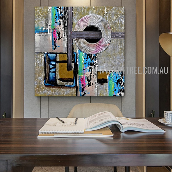 Spherical Modern Artist Handmade Heavy Texture Framed Abstract Artwork For Room Wall Ornament