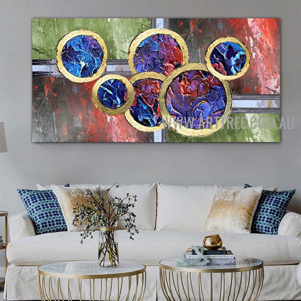 Rotund Contemporary Modern Artist Handmade Impasto Framed Abstract Canvas Art For Room Wall Assortment